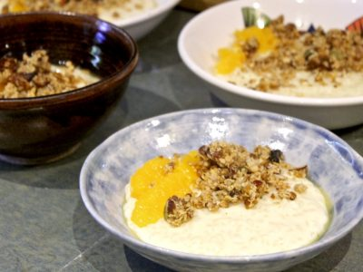 Spiced Orange Blossom Rice Pudding with Crunchy Granola