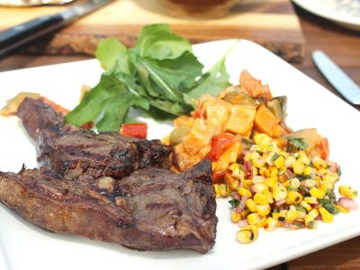 Drunken Lamb Chops served with Sweetcorn Salsa and Sweet Potato Chilli