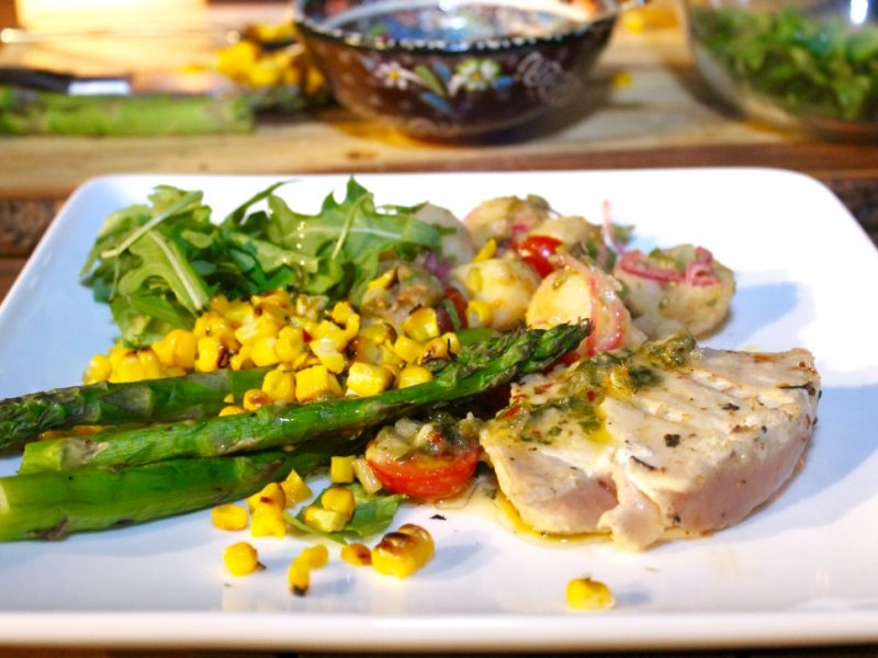 Grilled Tuna Steaks with New Potato Salad, Fresh Corn Salsa and Citrus Dressing